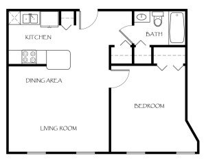 117 Ames Privilege Floor Plan 1 Bedroom 1